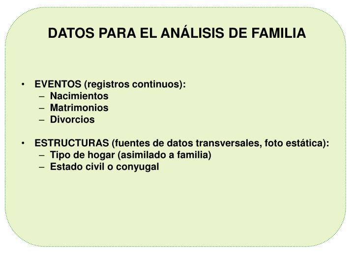 DATOS PARA EL ANÁLISIS DE FAMILIA