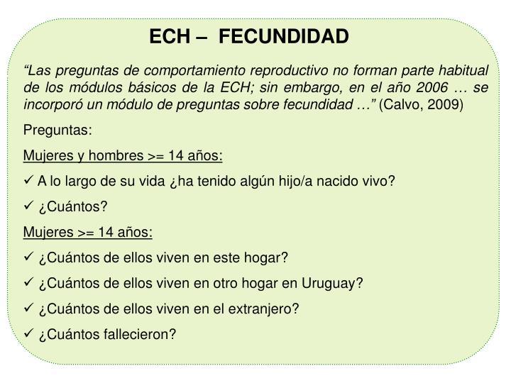 ECH –  FECUNDIDAD