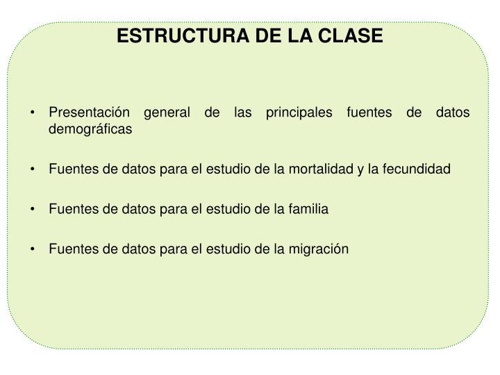 ESTRUCTURA DE LA CLASE