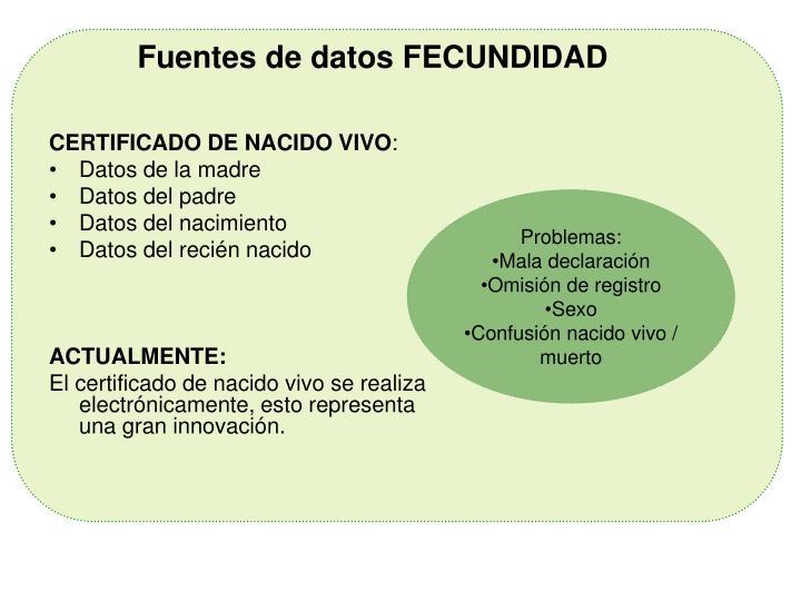 Fuentes de datos FECUNDIDAD