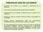 principales usos de los censos