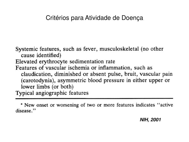 Critérios para Atividade de Doença