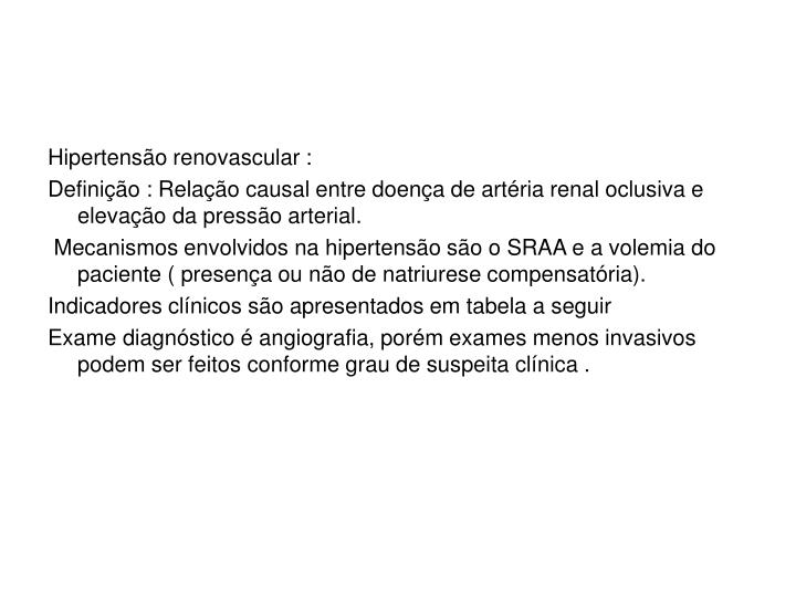 Hipertensão renovascular :