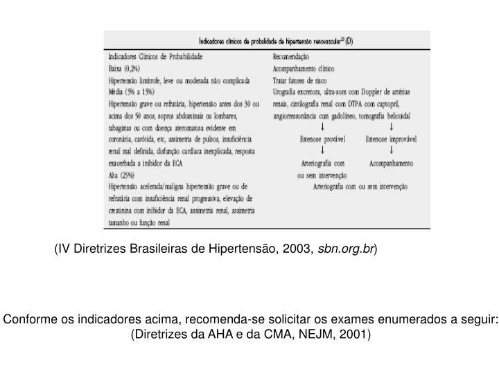 (IV Diretrizes Brasileiras de Hipertensão, 2003,