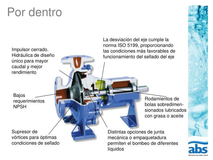 La desviación del eje cumple la norma ISO 5199, proporcionando las condiciones más favorables de funcionamiento del sellado del eje