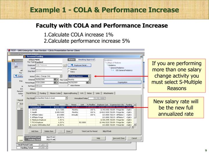 Example 1 - COLA & Performance Increase