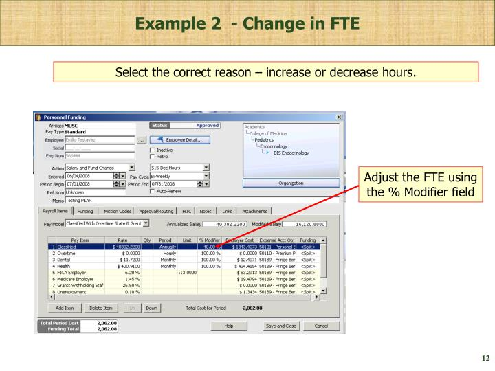 Example 2  - Change in FTE