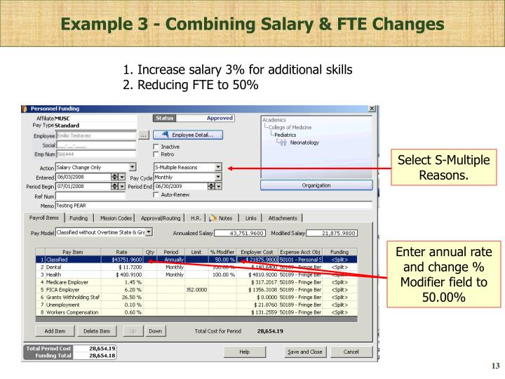 Example 3 - Combining Salary & FTE Changes
