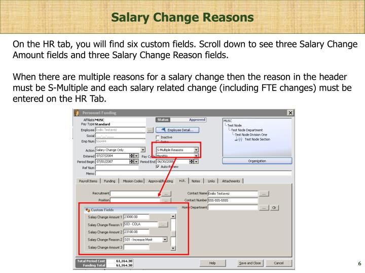 Salary Change Reasons
