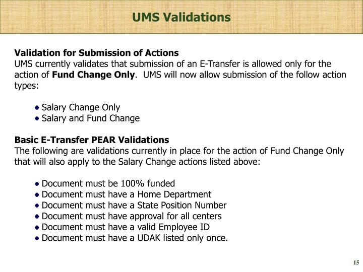 UMS Validations