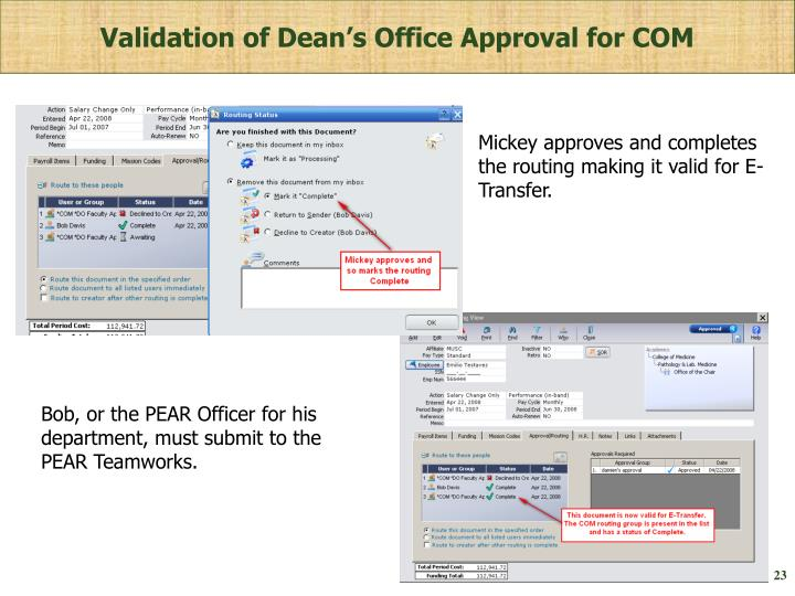 Validation of Dean's Office Approval for COM
