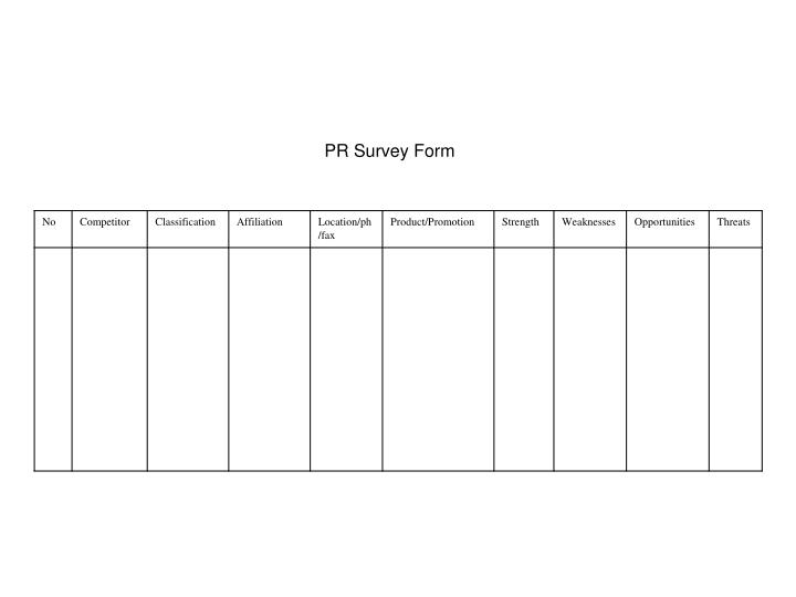 PR Survey Form