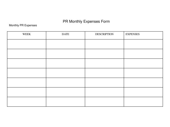 PR Monthly Expenses Form