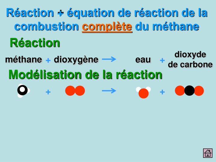 Réaction + équation de réaction de la combustion