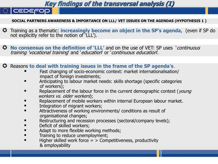 Key findings of the transversal analysis (I)