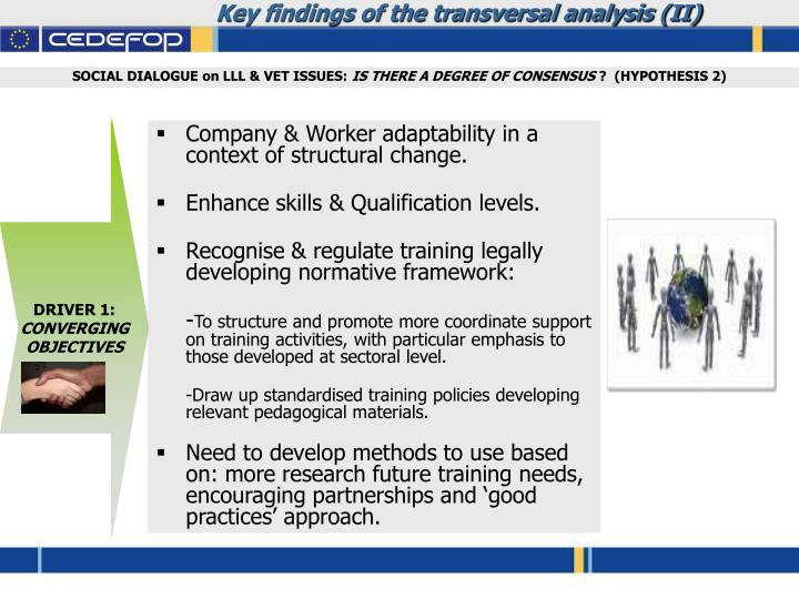 Key findings of the transversal analysis (II)