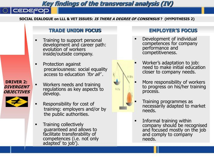 Key findings of the transversal analysis (IV)