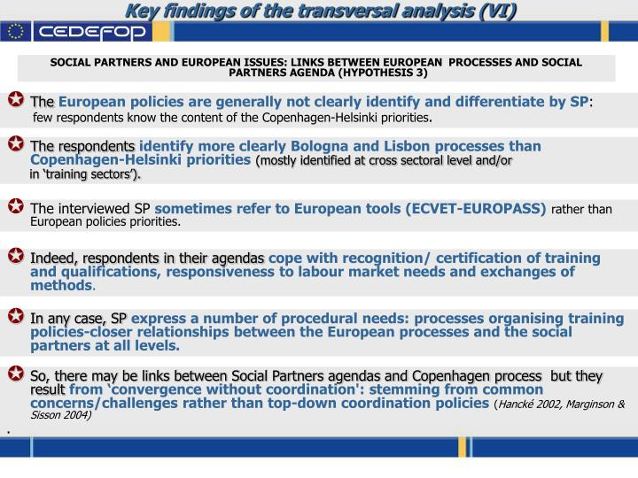 Key findings of the transversal analysis (VI)