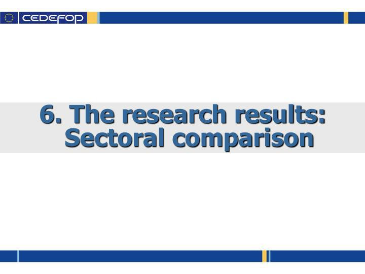 6. The research results: Sectoral comparison