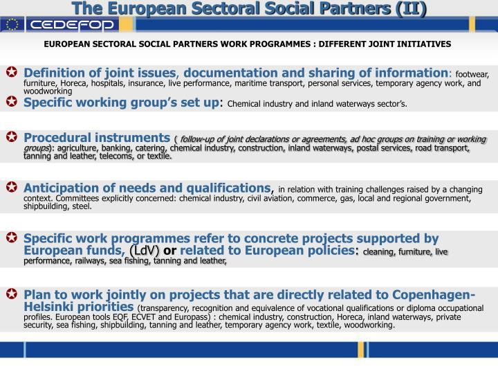 The European Sectoral Social Partners (II)