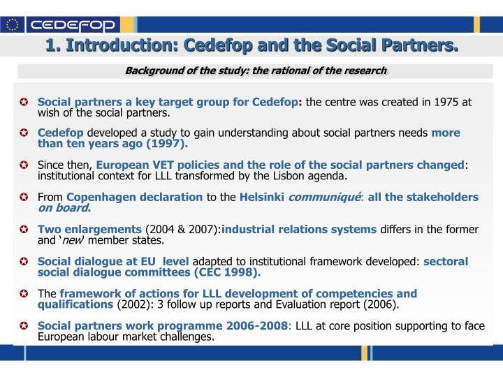 1. Introduction: Cedefop and the Social Partners.