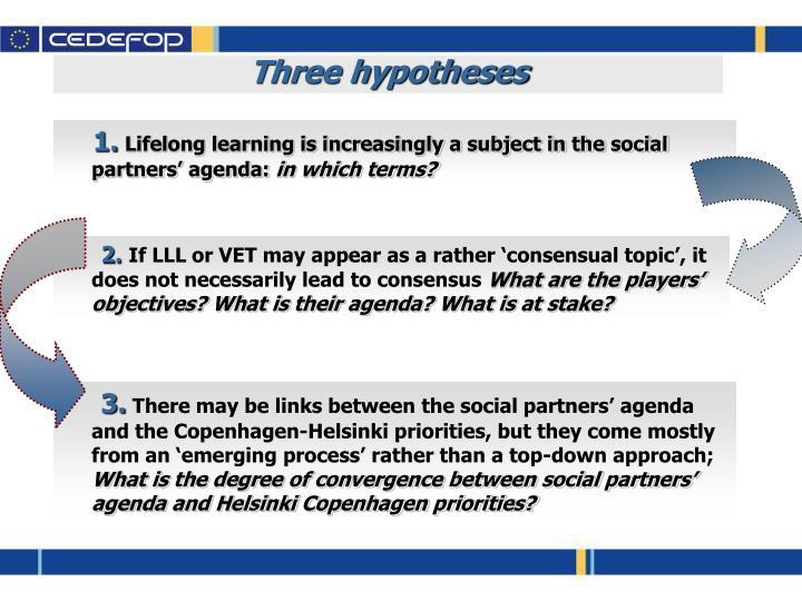 Three hypotheses