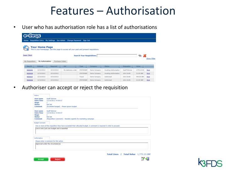 Features – Authorisation