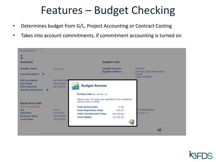 Features – Budget Checking