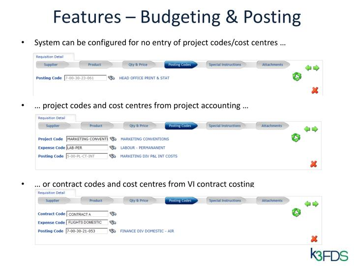 Features – Budgeting & Posting