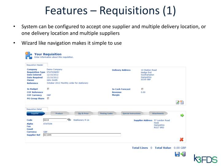Features – Requisitions (1)