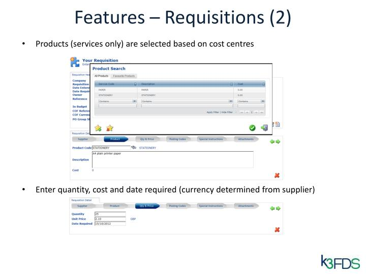Features – Requisitions (2)