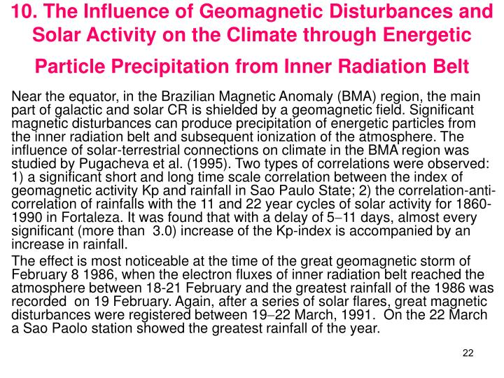 10. The Influence of Geomagnetic Disturbances and Solar Activity on the Climate through Energetic Particle Precipitation from Inner Radiation Belt