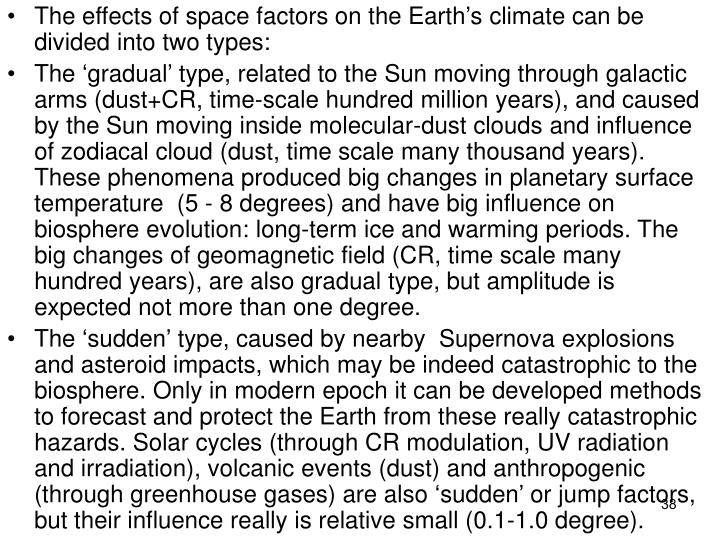 The effects of space factors on the Earths climate can be divided into two types: