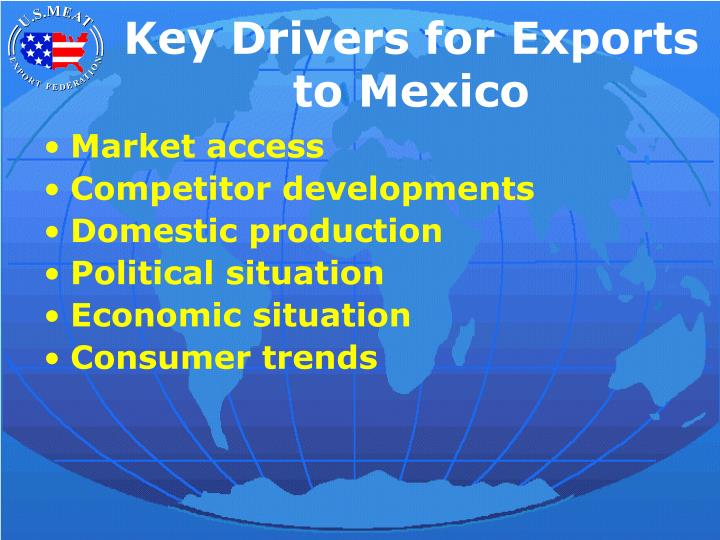 Key Drivers for Exports to Mexico