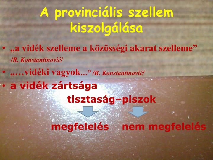 A provinciális szellem kiszolgálása