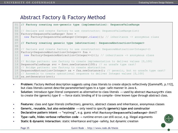 Abstract Factory & Factory Method