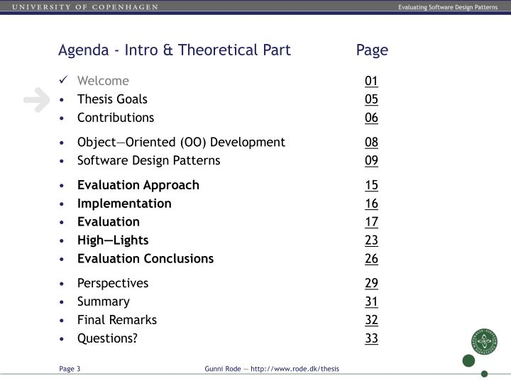 Agenda intro theoretical part page