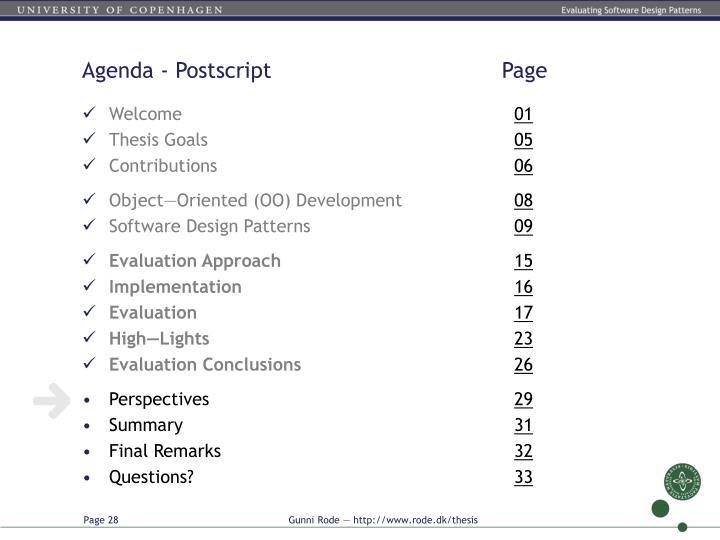 Agenda - Postscript          Page