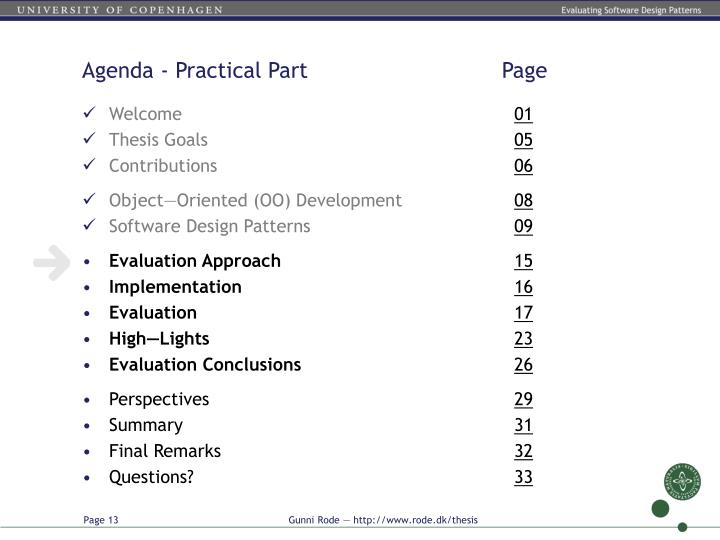 Agenda - Practical Part         Page