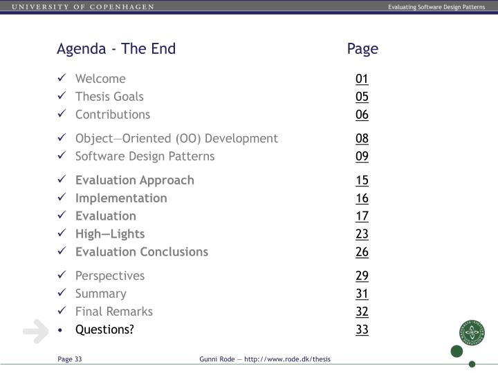 Agenda - The End          Page