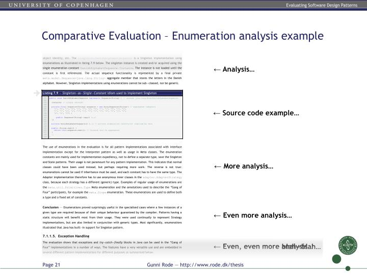 Comparative Evaluation – Enumeration analysis example