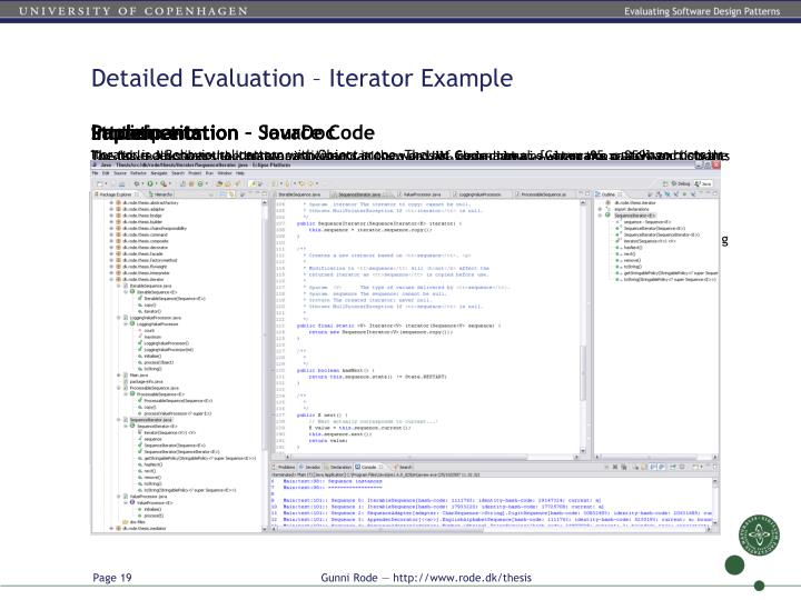 Detailed Evaluation – Iterator Example