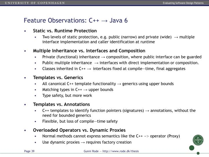 Feature Observations: C++