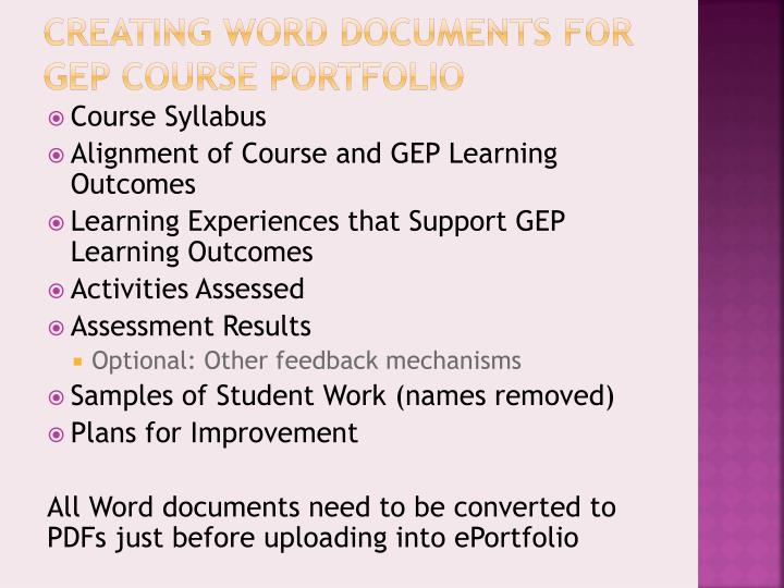 Creating Word Documents for GEP Course Portfolio