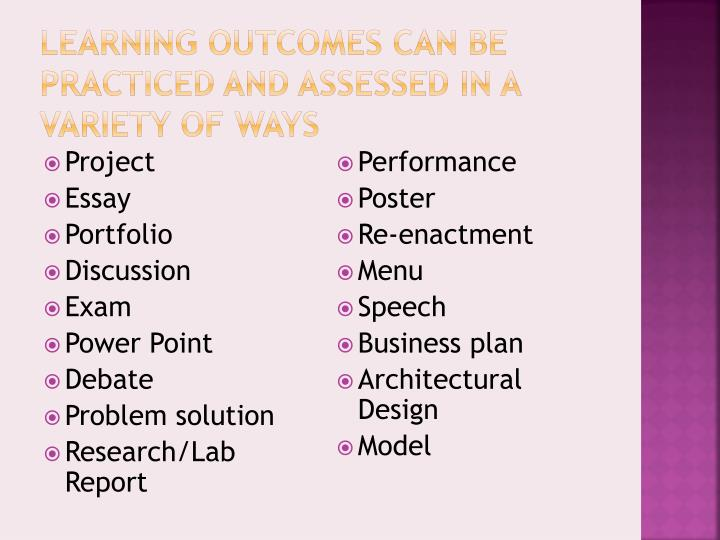 Learning Outcomes Can be Practiced and Assessed in a Variety of Ways