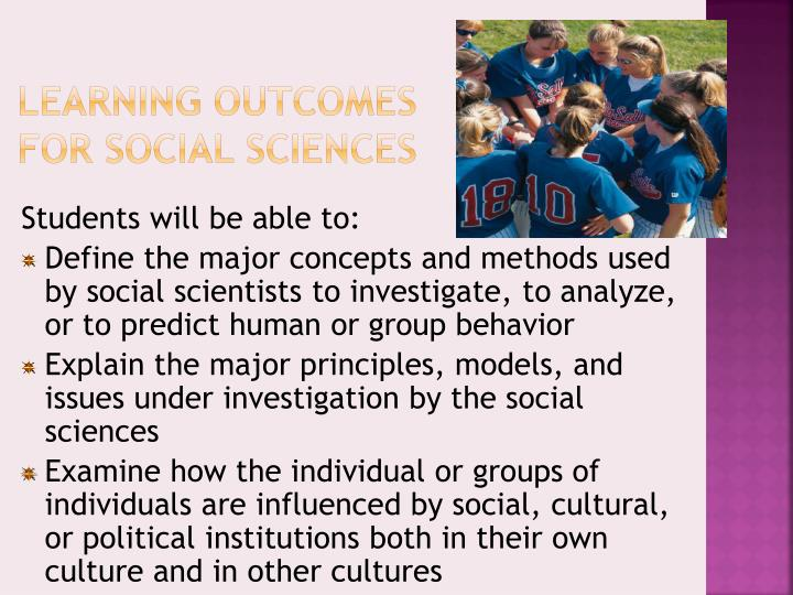 Learning Outcomes for Social Sciences