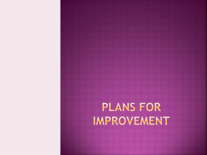 Plans for Improvement