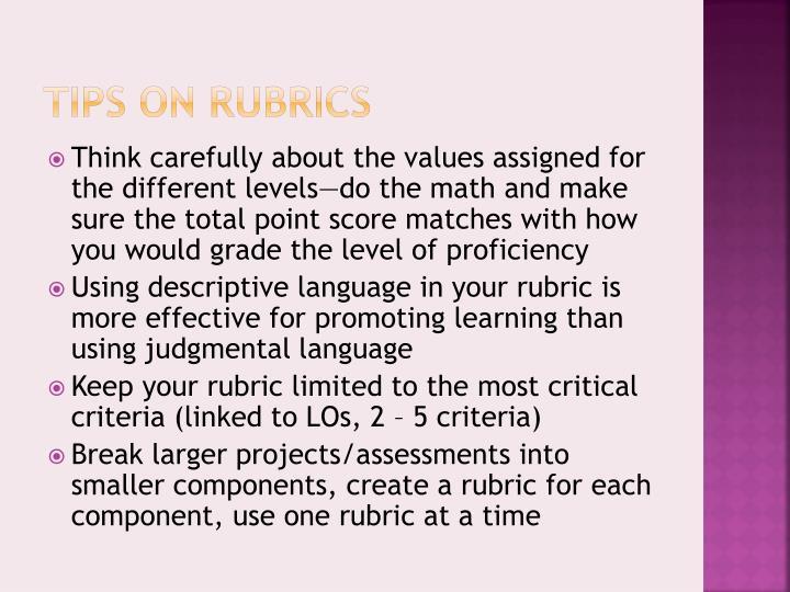 Tips on Rubrics