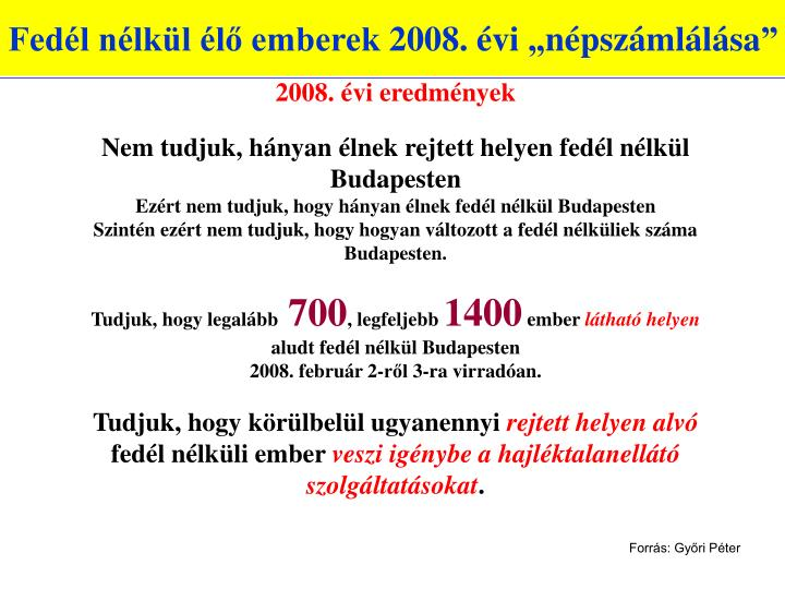 """Fedél nélkül élő emberek 2008. évi """"népszámlálása"""""""