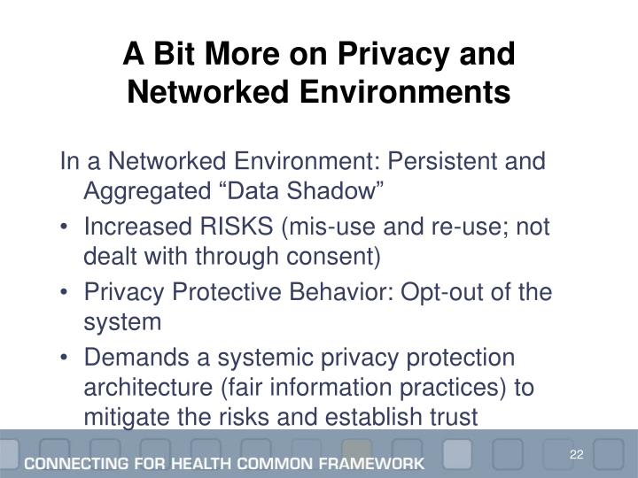 A Bit More on Privacy and Networked Environments